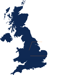 Uk Map with Qube UK offices shown
